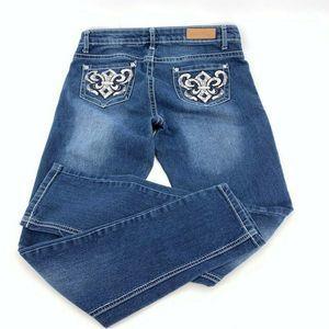 Skinny Jeans Embellished Pockets Dark Wash Size 7